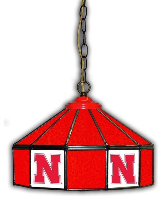 Nebraska Cornhuskers 14 Stained Glass Pub Light
