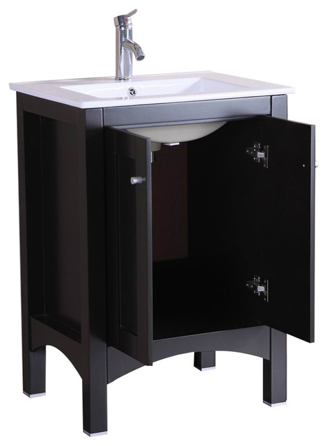"24"" Belvedere Modern Espresso Bathroom Vanity W/ Ceramic Countertop."