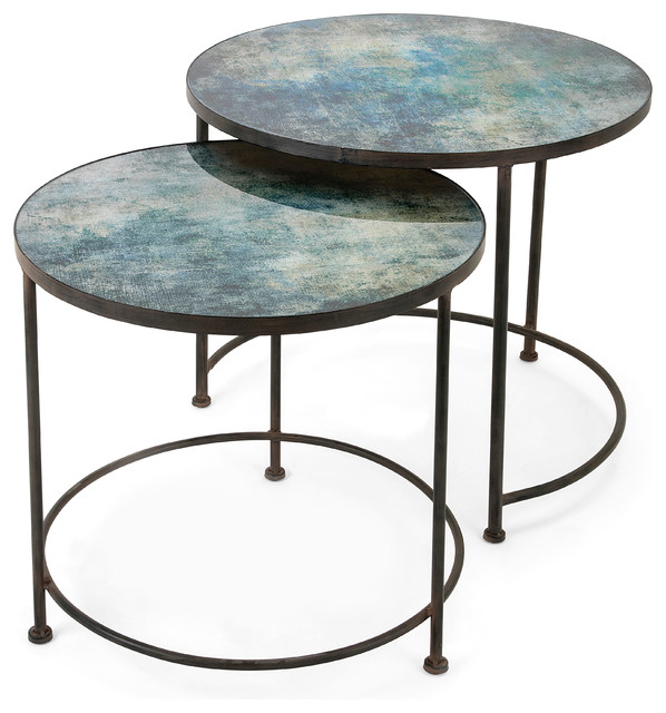 Glass Coffee Tables Set: Paxton Metal And Printed Glass Tables, Set Of 2