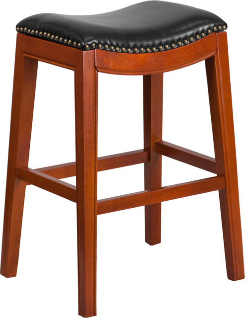 30  High Backless Barstool With Black Leather Seat Light Cherry transitional-bar-  sc 1 st  Houzz & 30