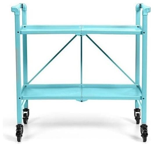 Cosco Smartfold Folding Serving Bar Cart Teal Contemporary Carts