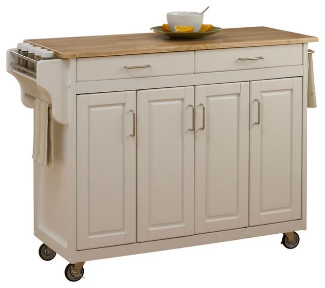 tiberius cuisine cart, white, cherry top - transitional