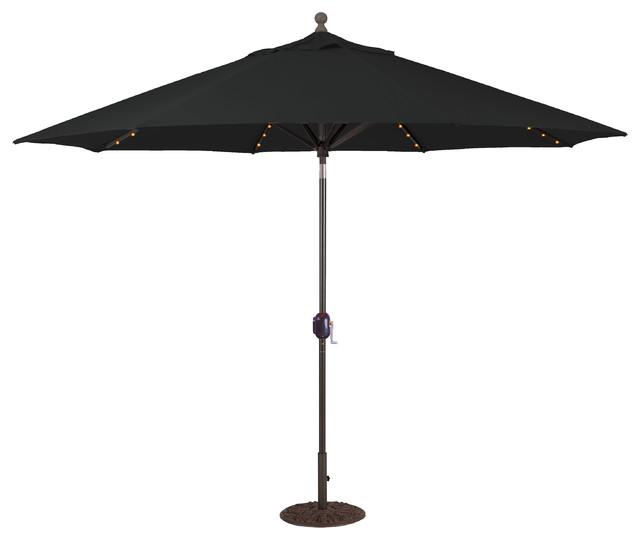 shop houzz galtech 11 39 auto tilt patio umbrella with led