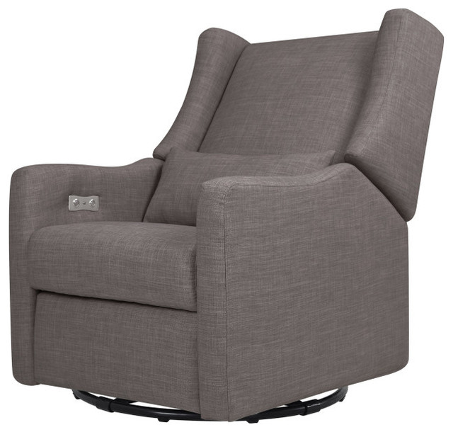 Enjoyable Kiwi Electronic Recliner And Swivel Glider With Usb Port Gray Tweed Pabps2019 Chair Design Images Pabps2019Com