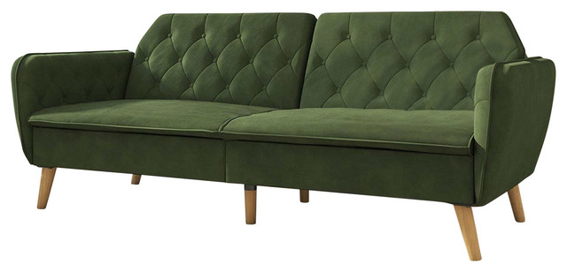 Memory Foam Futon Sofa Bed With Green Velvet Upholstery And Wood Legs