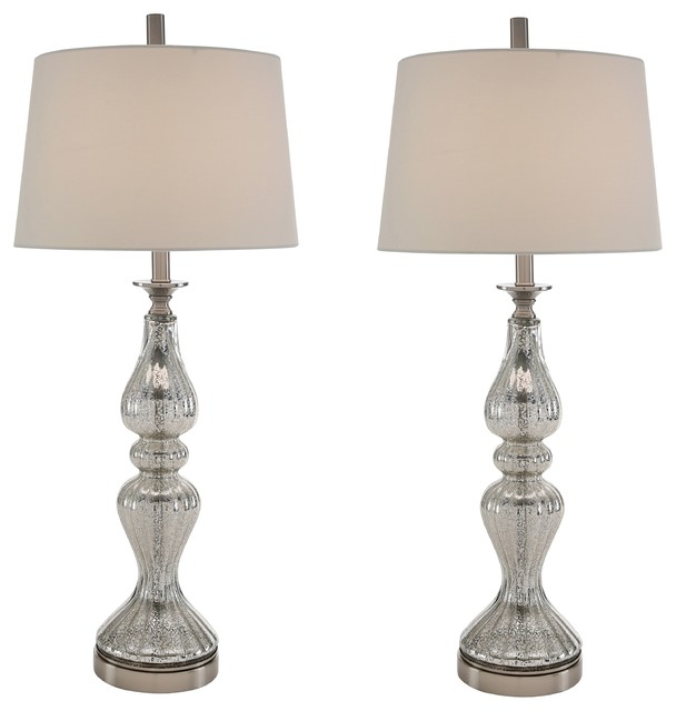 Hudson Clear Glass Table Lamps, Set Of 2.