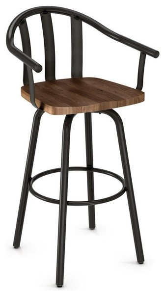 Artefac Sloped Arm Swivel Stool With Wood Seat View In