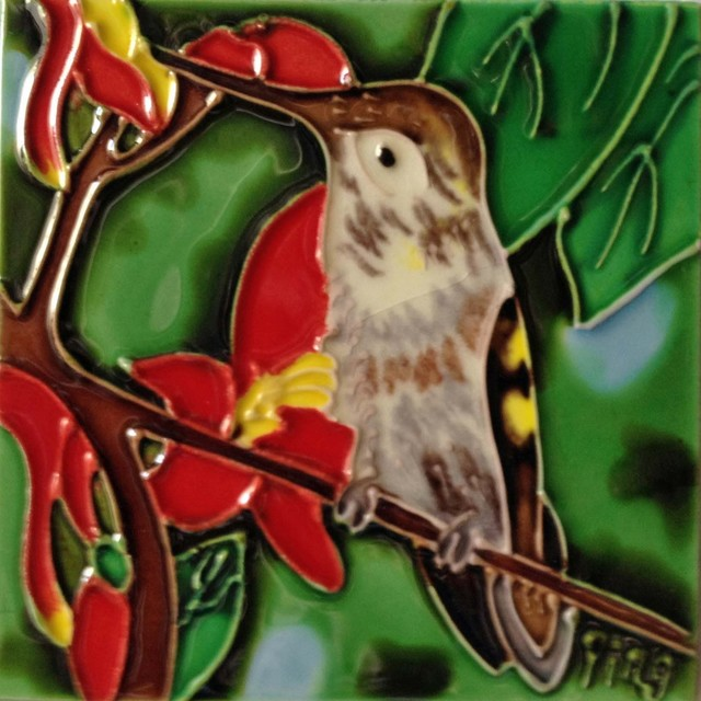 Hummingbird With Red Flower Tile
