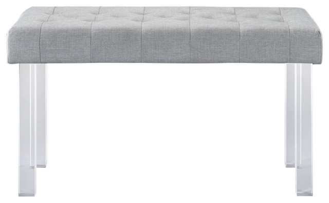 Acme Bagley Bench, Linen Clear Acrylic.