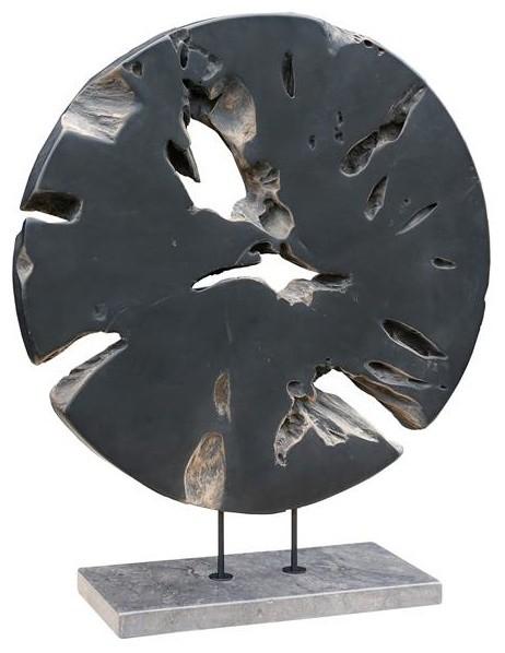 Round Teak Wood Art, Weathered Gray, Large