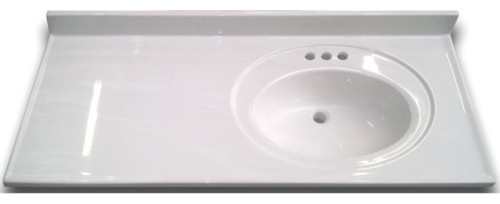 Bathroom Vanity Top Right Recessed Bowl Cultured Marble White