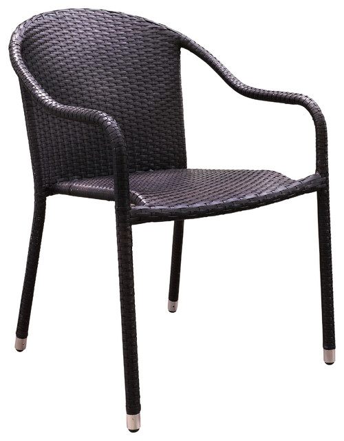 Crosley Furniture Palm Harbor Outdoor Wicker Stackable Chairs   Set Of 4  Tropical Outdoor