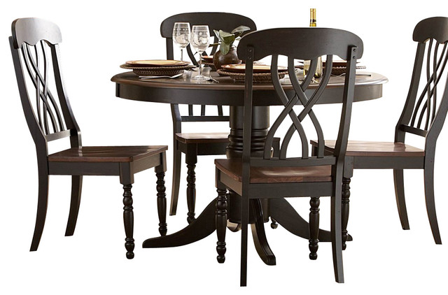 Homelegance Ohana 4 Piece Round Dining Room Set In Black/ Cherry  Traditional Dining