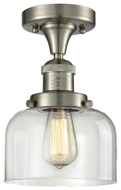 Innovations 517 Glass Semi Flush, G72, Satin Brushed Nickel.