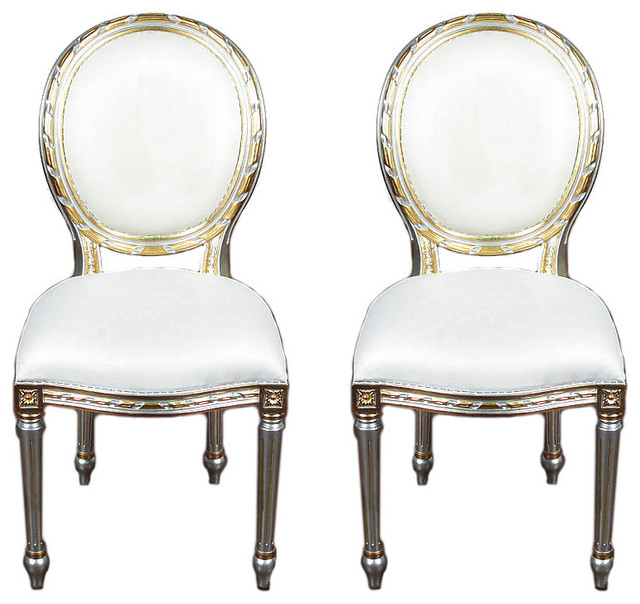 Pair 2 Silver Gold French Style Balloon Back White Muslin Side Chairs  Traditional Dining