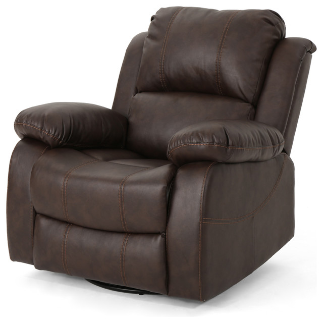 Lilith Classic Leather Gliding Swivel Recliner, Dark Brown.