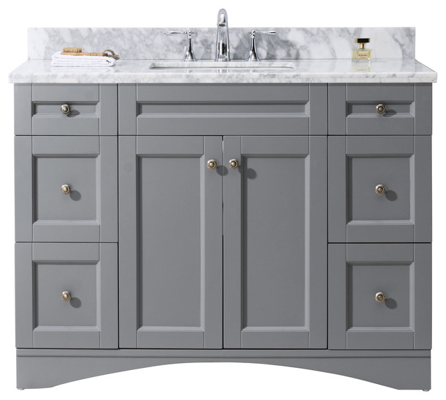 zola 30 single bathroom vanity set with mirror by virtu cabinet gray transitional vanities off white marble top