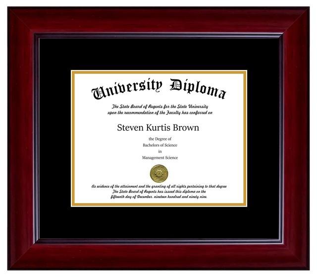 """Single Diploma Frame with Double Matting, Mahogany, 14""""x17"""", UV"""