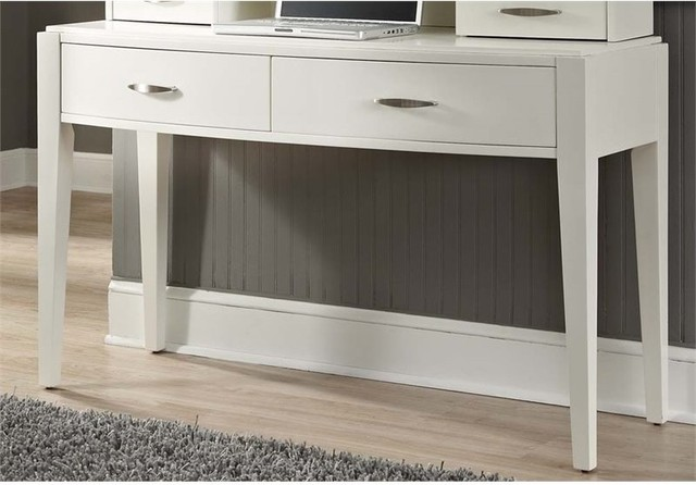 Liberty Furniture Avalon II Bedroom Vanity Desk, White Truffle Transitional  Bedroom And
