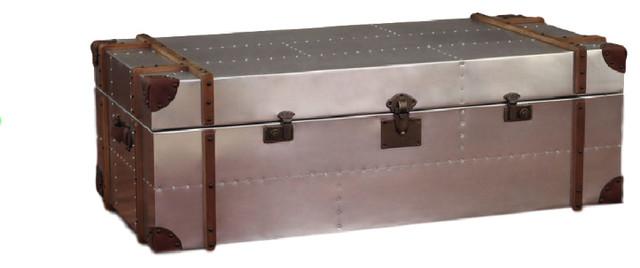 Beautiful ZallZo Brown Commander Aluminum Trunk Coffee Table Contemporary Decorative  Trunks