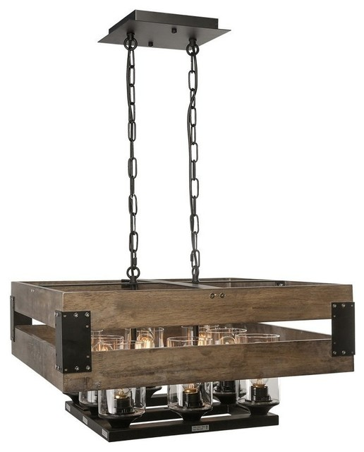Industrial Style Wood Chandelier Light, 8-Light, Kitchen