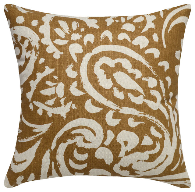 Paisley Printed Linen Pillow With Feather-Down Insert - Contemporary - Decorative Pillows - by ...