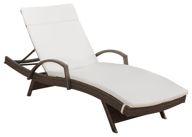 Olivia outdoor brown wicker armed chaise lounge chair with for 2 armed chaise lounge