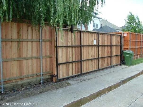Cedar fence automatic sliding gate dallas by texas