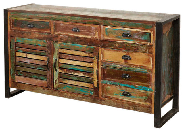 Large Urban Chic Reclaimed Wood Sideboard with 6 Drawers and 2 Cupboards