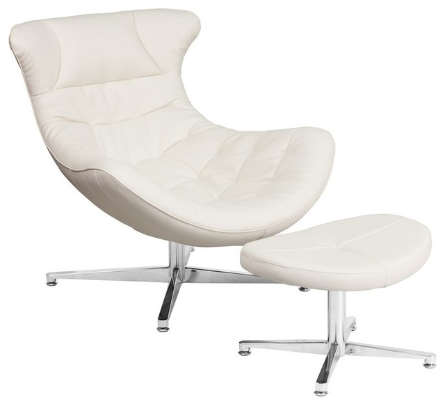 Joan Leather Cocoon Chair With Ottoman, White