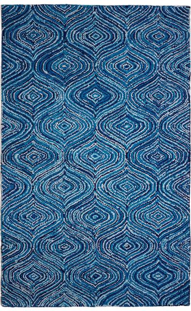 Burlane Area Rug, Blue, 5&x27;x8&x27;.