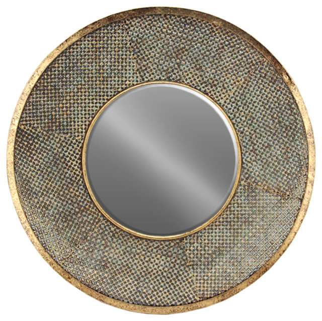 metal round mirror with pierced metal frame gold transitional wall mirrors by urban. Black Bedroom Furniture Sets. Home Design Ideas