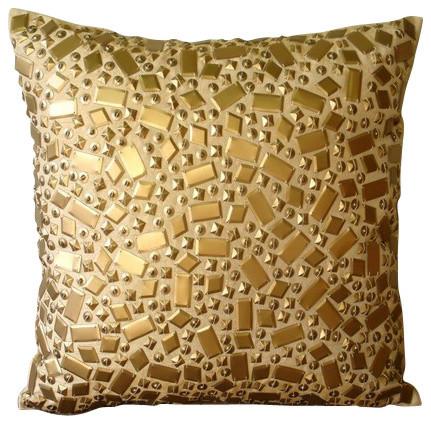 Sequins Gold Accent Pillows Art Silk 14 X14 Throw Pillow Covers