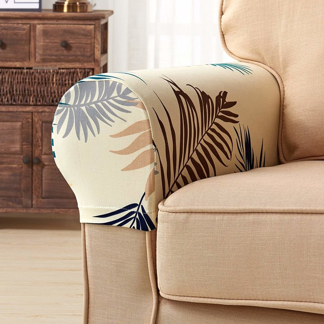 Cool Subrtex Leaves Print Stretch Fabric Armrest Covers Yellow Alphanode Cool Chair Designs And Ideas Alphanodeonline