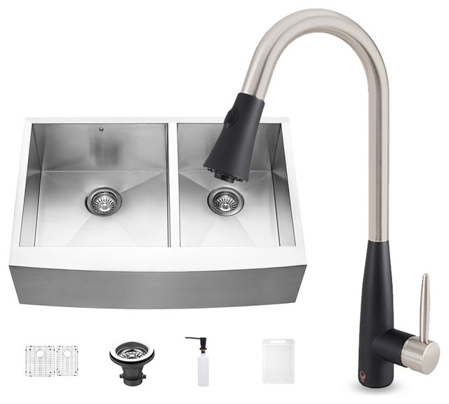 All-in-One Stainless Steel Farmhouse Kitchen Sink and Milburn Faucet ...