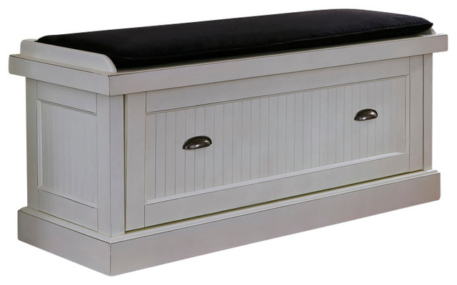 Nantucket Bench Distressed White Transitional Accent