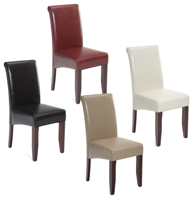 Jofran 888 Carlsbad Cherry Bonded Leather Parson Dining Chair  Transitional Dining Chairs