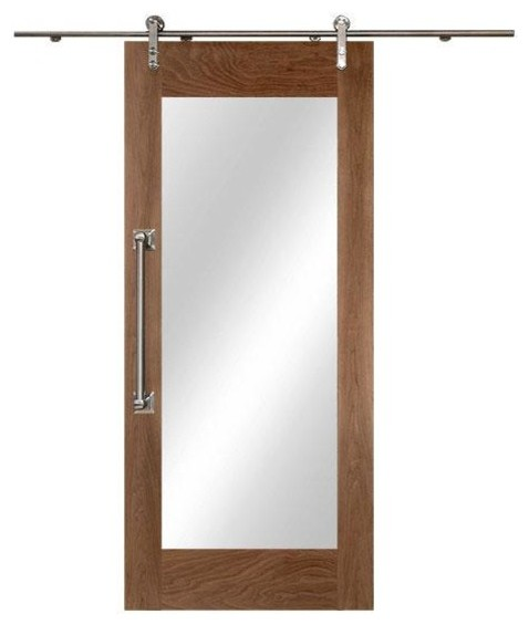 "Modern Sliding Barn Door, Full Body Mirror, Walnut Wood, Unfinished, 36""x84""."