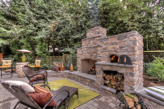 Outdoor Fireplace with pizza oven - Traditional - Portland - by ...