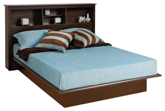 Prepac Manhattan Bookcase Platform Bed In Espresso Finish, Double / Full.