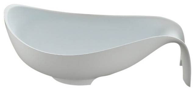 "80"" Polystone Mermaid Free-Standing Bathtub, Glossy White, No Faucet."