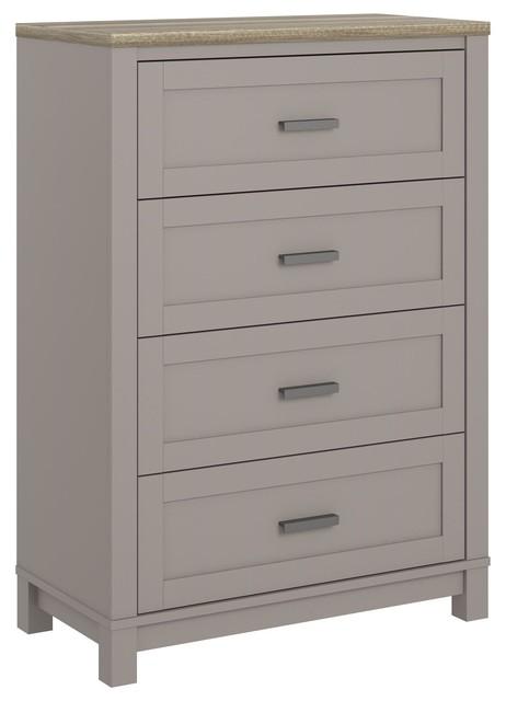 Savannah 4 Drawer Dresser, Gray.