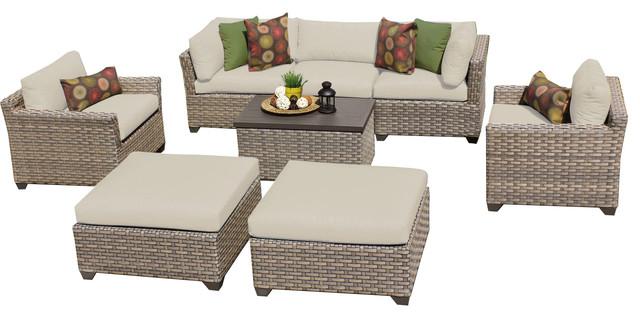 Hampton 8 Piece Outdoor Wicker Patio Furniture Contemporary