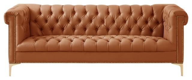 Grete Pu Leather Sofa Nailhead Trim With Y Legs Camel Brown Gold