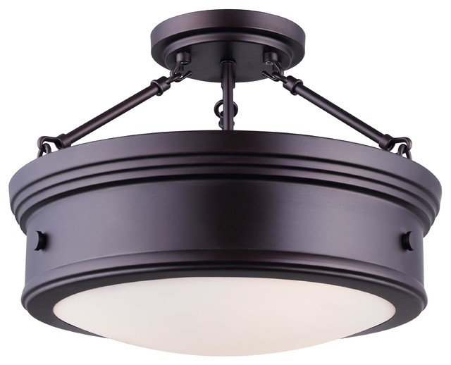 Canarm Boku 3 Light Semi Flush Mount With Flat Opal Gl Oil Rubbed