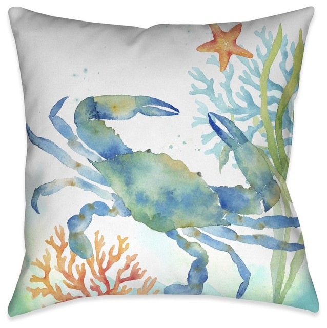 Laural Home Sea Life Blue Crab Indoor Decorative Pillow.