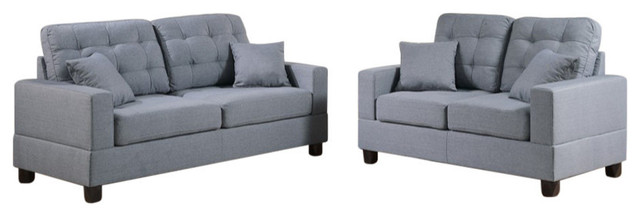 2-Piece Sofa Set With Pillows, Gray.
