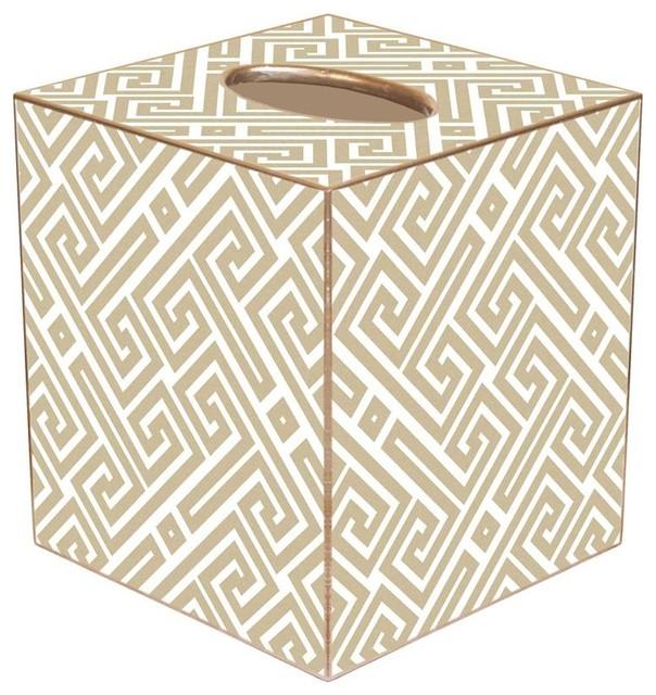 TB2653 - Tan & White Fret Pattern Tissue Box Cover
