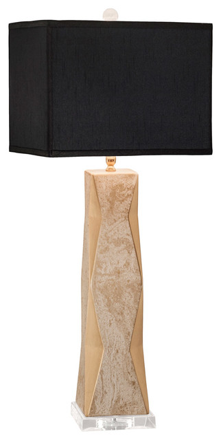 Geo 1-Light Table Lamps, Gold Lacquer With White Overglaze.