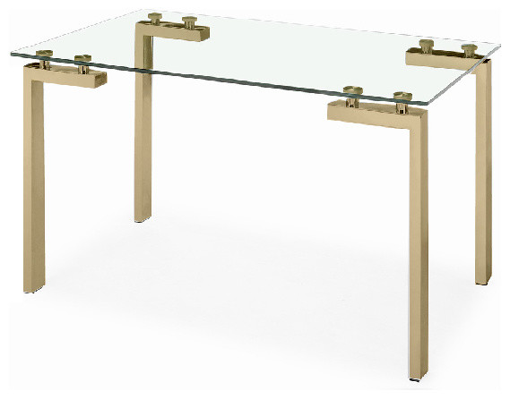 Water Glass Dining Table, Gold - Contemporary - Dining ...